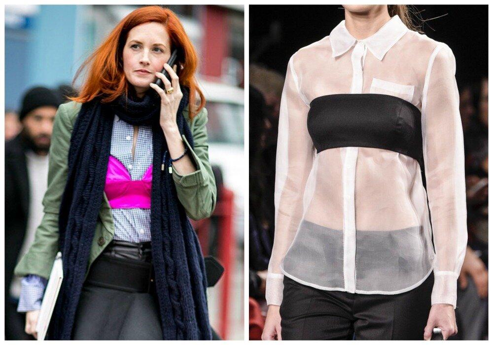 sutiã sobre a blusa