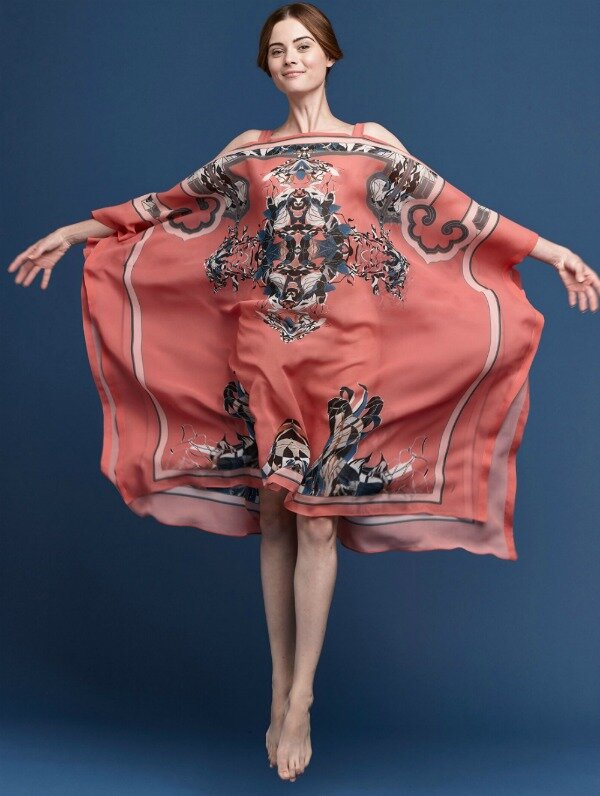 Meng-SS15-beach-wear-coral-print-silk-georgette-open-shoulder-dress-coral