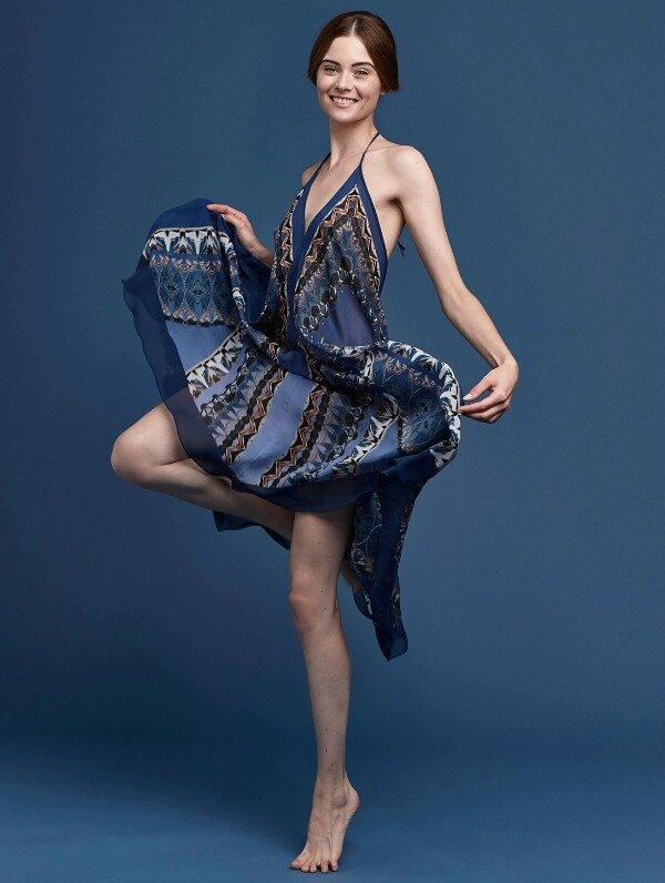 Meng-SS15-beach-wear-coral-print-silk-georgette-scarf-dress-navy-1