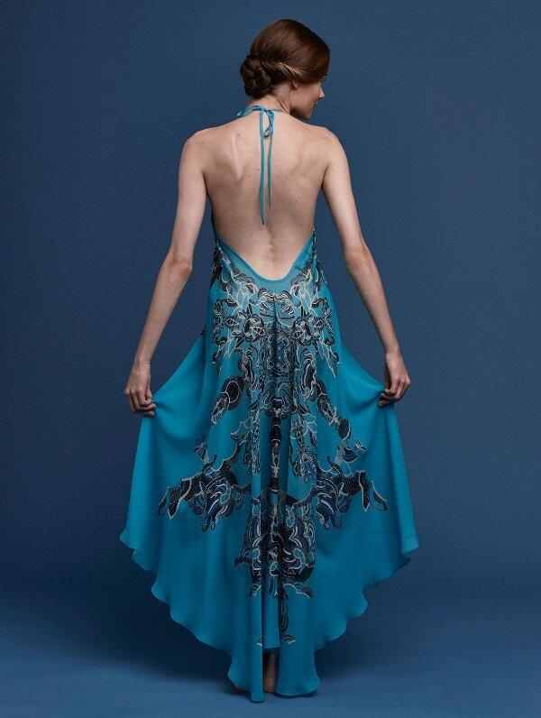 Meng-SS15-beach-wear-zodiac-print-silk-georgette-scarf-dress-turquoise