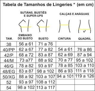 tabela de medidas lingerie
